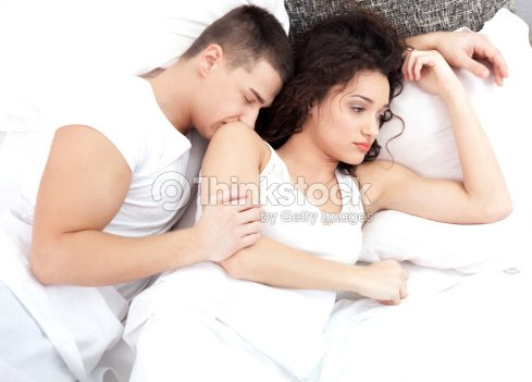 Husband Wife Relationship In Bed Bad Young Woman Depressed About Sleeping Boyfriend Stock Photo