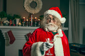 This santa just wants to party.Vintage film style processing.