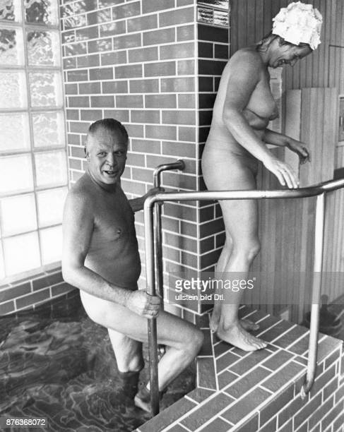 Bad Soden medical treatments in the thermal spa elderly couple in the coldwater pool after the sauna