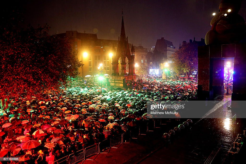 Manchester Christmas Lights - Switch On - November 04, 2016 Photos ...:Bad weather during the Manchester Christmas Lights Switch On event on  November 4, 2016 in,Lighting