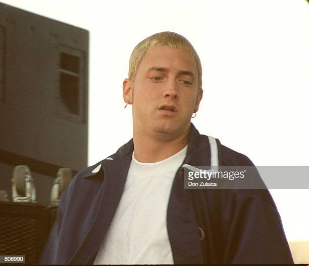 Badboy rapper Eminem performs July 3 1999 in Oakland CA Eminem is currently being sued for $10 million by his estranged wife Kim Mathers who is also...