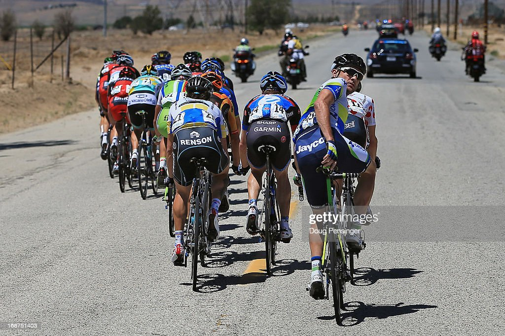 Baden Cooke (R) of Australia riding for Orica Greenedge looks back at the peloton from an early breakaway of 23 riders that were caught by the peloton early in Stage Three of the 2013 Amgen Tour of California from Palmdale to Santa Clarita on May 14, 2013 in Palmdale, California.