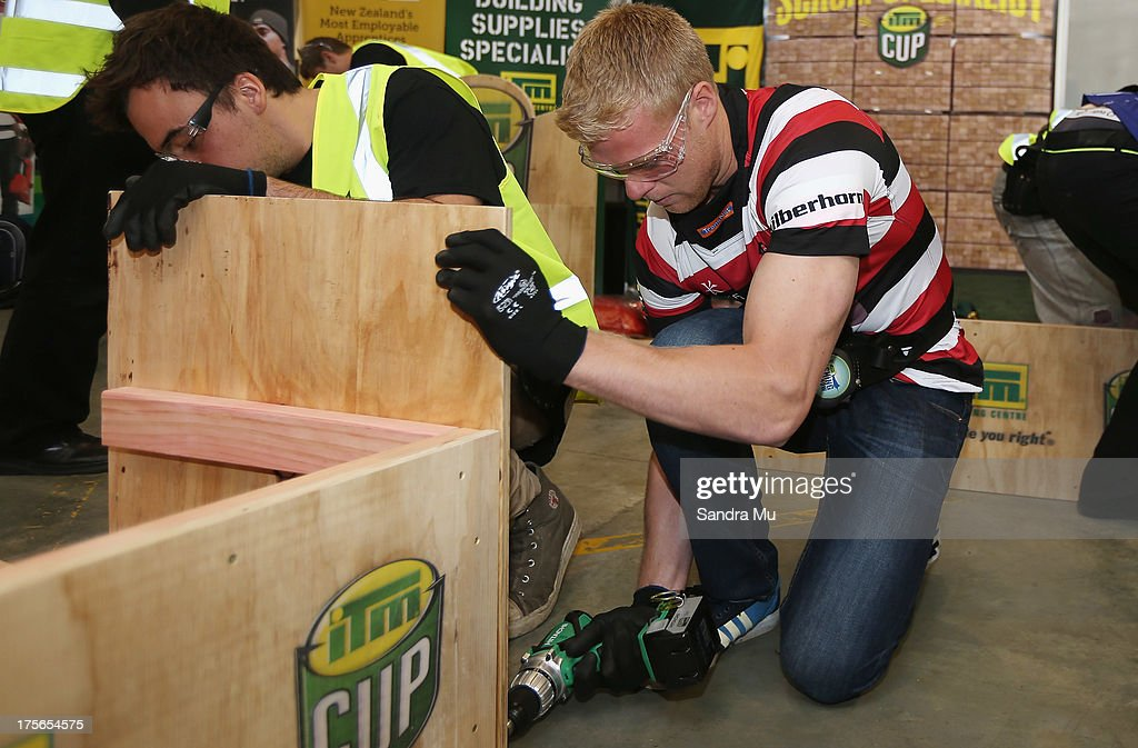 Baden Kerr of Counties Manukau builds a fan seat during the 2013 launch of the ITM Cup at Unitec on August 6, 2013 in Auckland, New Zealand.