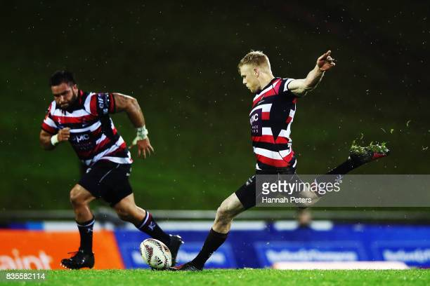 Baden Kerr of Counties Manukau kicks the winning penalty kick during the round one Mitre 10 Cup match between Counties Manukau and Auckland at...