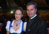 Baden Wuerttemberg governor Guenther Oettinger and his girlfriend Friederike Beyer attend the celebration of the 60th birthday of Roland Mack at...