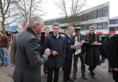 BadenWuerttemberg governor Guenther Oettinger and Interiour Minister Heribert Rech are seen at the AlbertvilleSchool Centre on March 11 2009 in...