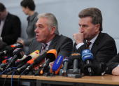 BadenWuerttemberg governor Guenther Oettinger and Interiour Minister of BadenWuerttemberg Heribert Rech are seen at the AlbertvilleSchool Centre on...