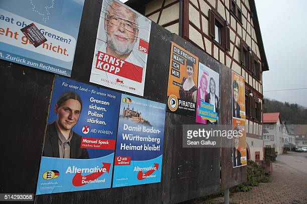 BadenWuerttemberg state election campaign posters for parties including the Alternative fuer Deutschland political party hang on March 8 2016 in...