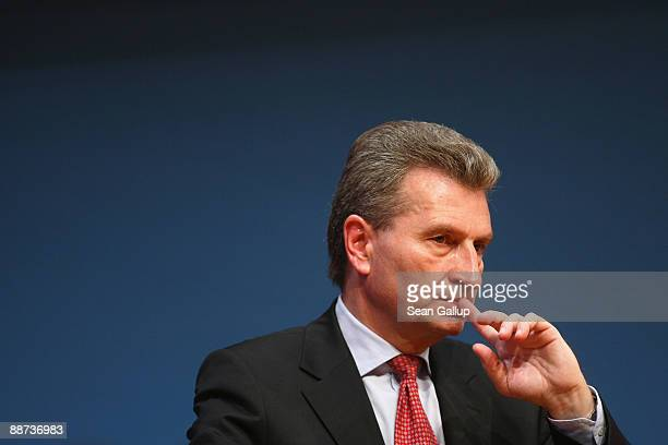 BadenWuerttemberg state governor Guenther Oettinger attends a joint congress of the German Christian Democrats and its Bavarian sister party the CSU...