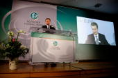 BadenWuerttemberg's State Premier Guenther Oettinger talks on the podium during the DFB LIVE event by the Permanent Representation of...