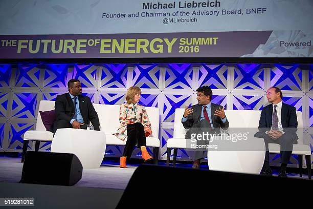 Bader Al Lamki executive director of Masdar Clean Energy from left Delphine Eyraud senior policy adviser of international climate negotiations of...