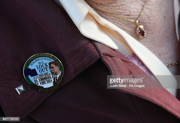 A badge commemorating the Dublin dockers lock out of 1913 on the jacket of Hilda Larkin niece of Jim Larkin at the his graveside in Glasnevin...