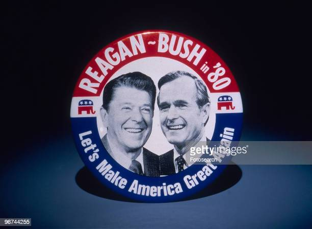 Badge for the 1980 ial Election featuring Ronald Reagan and George Bush with the words 'ReaganBush in '80 Let's Make America Great Again' USA 1980