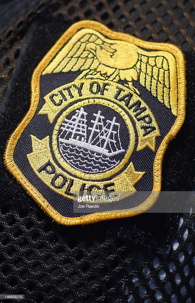 A badge is seen on a police officer for the Tampa Police Department on July 13 2012 in Tampa Florida The department continues to prepare for the...