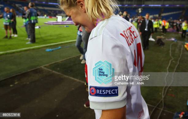 A badge on the shirt of Ada Hegerberg of Olympique Lyonnais with the UEFA campaign slogan we play strong during the UEFA Women's Champions League...