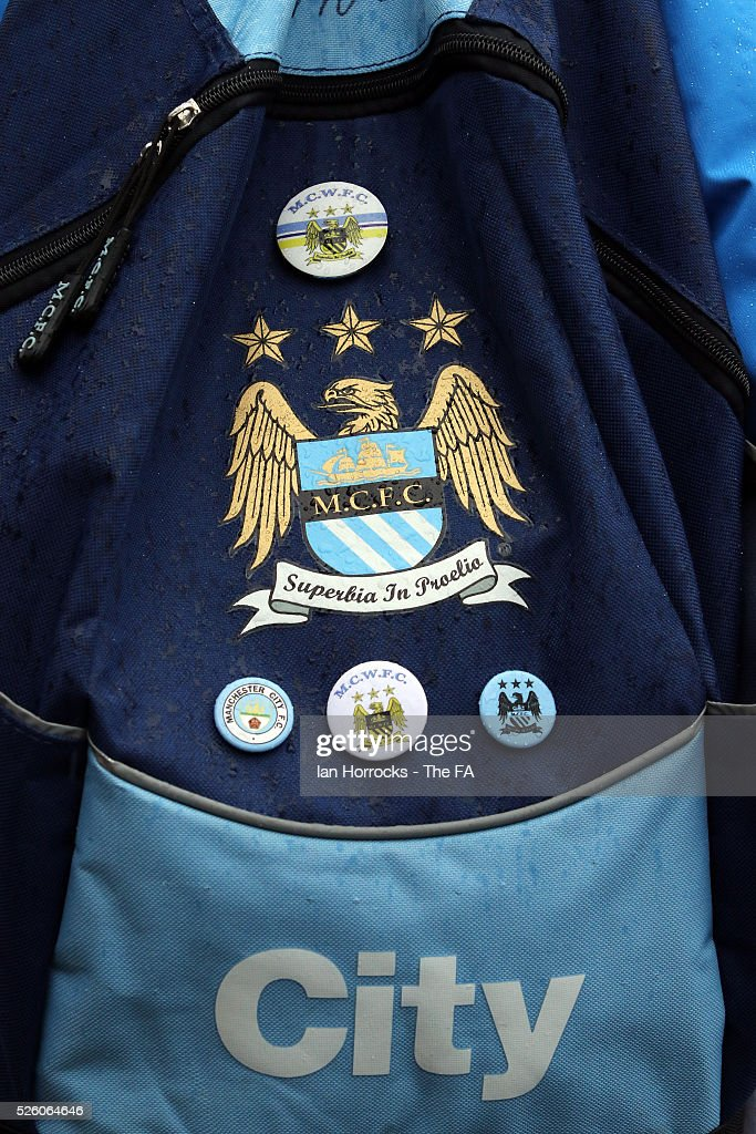 Badges adorn a Manchester City fans ruck sack during the WSL 1 match between Sunderland AFC Ladies and Manchester City Women at The Hetton Center on April 29, 2016 in Hetton, England.