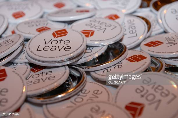 Badges are seen ahead of a rally for the 'Vote Leave' campaign the official 'Leave' campaign organisation for the forthcoming EU referendum in...
