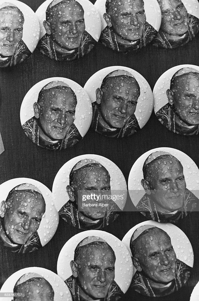 Badges commemorating the visit from Pope John Paul II to New York City USA 3rd October 1979
