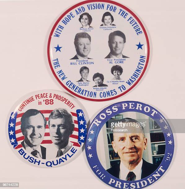 Badges for the 1988 ial Election the badges feature the candidates Bill Clinton and Al Gore George Bush and Dan Quayle and Ross Perot USA 1988