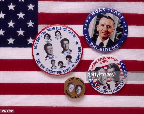 Badges for the 1988 ial Election the badges set on a background of the Stars and Stripes feature the candidates Bill Clinton and Al Gore George Bush...