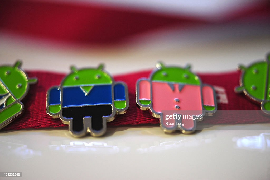 Badges for the Android mobile operating system are seen on an employee's lanyard at the Mobile World Congress in Barcelona, Spain, on Thursday, Feb. 17, 2011. The Mobile World Congress takes place at Fira de Barcelona conference center Feb. 14-17. Photographer: Denis Doyle/Bloomberg via Getty Images