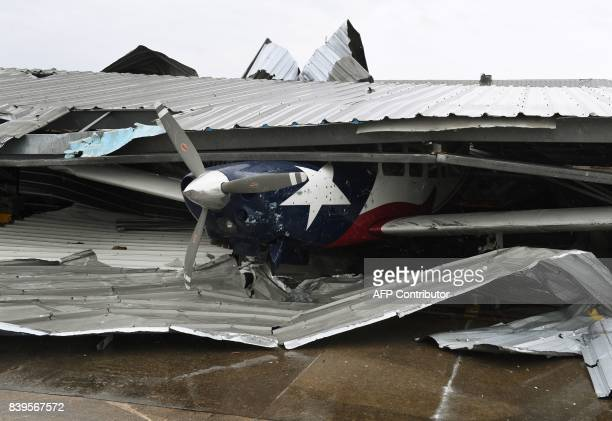 A badly damaged light plane in its hanger at Rockport Airport after heavy damage when Hurricane Harvey hit Rockport Texas on August 26 2017 Hurricane...