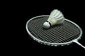Badminton ball on black background