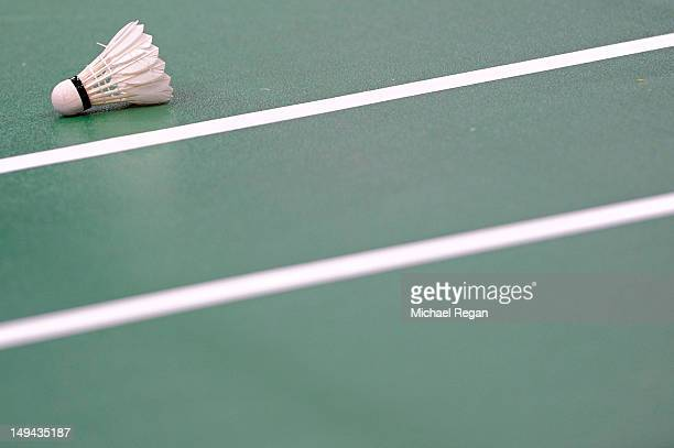 Badminton birdie is pictured on court during Day 1 of the London 2012 Olympic Games at Wembley Arena on July 28 2012 in London England