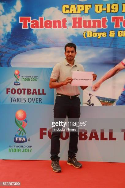 Badminton Coach Pullela Gopichand during the launch of Oorja by CAFP U19 Football Talent Tournament at India Gate on April 20 2017 in New Delhi India...