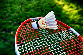 Badminton racket with Danish flag and shuttlecock outside.