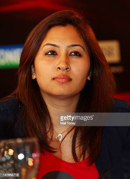Badminton player Jwala Gutta during the media meet for Yonex Sunrise India which will open from 2429 April 2012 in New Delhi on Saturday
