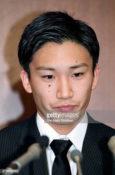 Badminton player Kento Momota attends a press conference on April 8 2016 in Tokyo Japan Both players admitted to have gone to illegal casinos several...