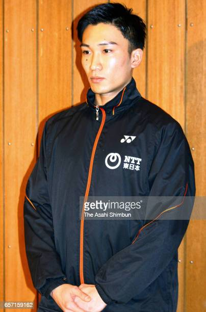 Badminton player Kento Momota attends a press conference on March 12 2017 in Ichikawa Chiba Japan Momota had been suspended for competing in...