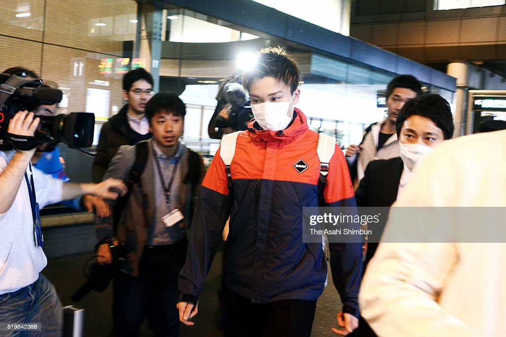 Badminton player <a gi-track='captionPersonalityLinkClicked' href=/galleries/search?phrase=Kento+Momota&family=editorial&specificpeople=9148050 ng-click='$event.stopPropagation()'>Kento Momota</a> is seen on arrival at the Narita International Airport on April 7, 2016 in Narita, Chiba, Japan. Momota, along with his team mate Kenichi Tago, admitted to visit an illegal casino in Japan. Fourth in Badminton Men's singles world ranking Momota, is going to miss the Rio de Janeiro Olympic Games.