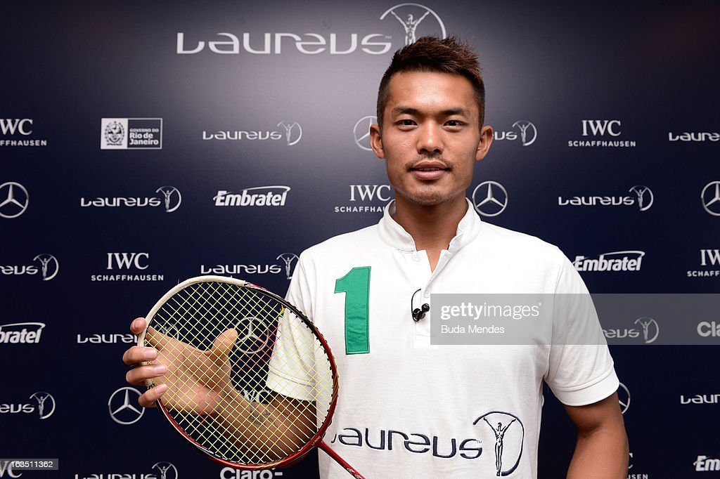 Badminton player <a gi-track='captionPersonalityLinkClicked' href=/galleries/search?phrase=Lin+Dan&family=editorial&specificpeople=211013 ng-click='$event.stopPropagation()'>Lin Dan</a> during day 3 of the 2013 Laureus World Sports Awards on March 11, 2013 in Rio de Janeiro, Brazil.
