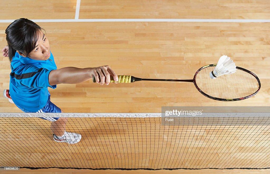 Badminton Player Serving