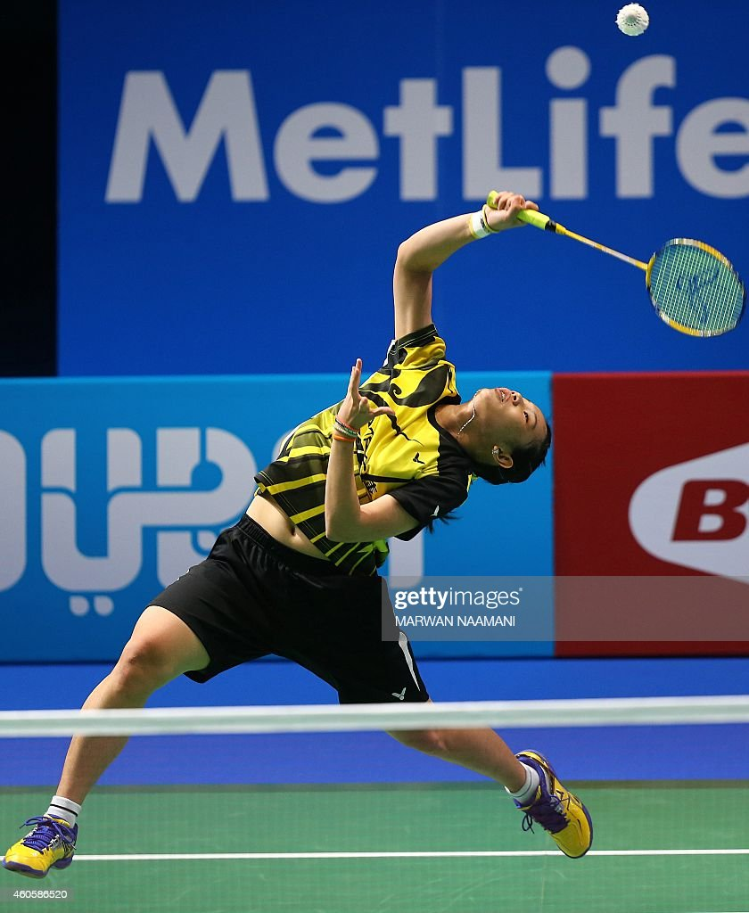 Badminton player Tai Tzu Ying of Taiwan plays a shot to Ratchanok