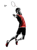 one asian badminton player young man in silhouette white background