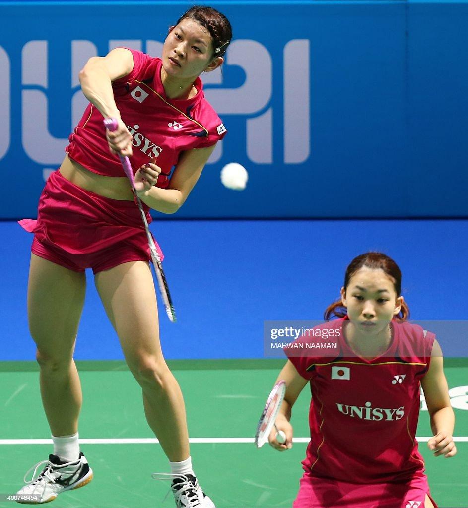Badminton players Ayaka Takahashi L and Misaki Matsutomo of