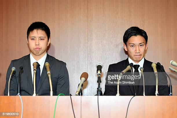Badminton players Kenichi Tago and Kento Momota attend a press conference on April 8 2016 in Tokyo Japan Both players admitted to have gone to...