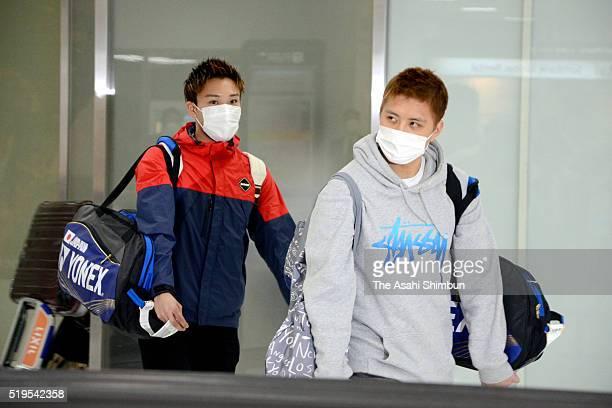 Badminton players Kento Momota and Kenichi Tago are seen on arrival at the Narita International Airport on April 7 2016 in Narita Chiba Japan Momota...