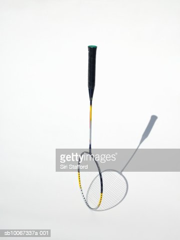 Badminton racket on white background