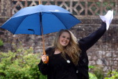 Badminton School sixth form pupil Madeline Sunter who got 2 A* and 1 B and is going to study fashion at St Martins celebrates her Alevel results on...