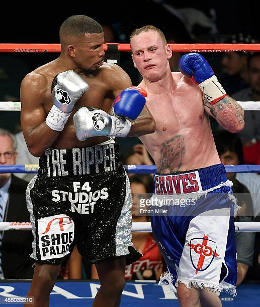 Badou Jack and George Groves battle in the sixth round of their WBC super middleweight title fight at MGM Grand Garden Arena on September 12 2015 in...