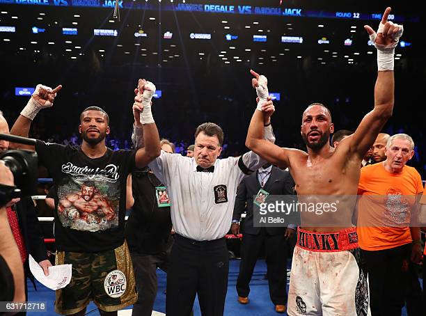 Badou Jack and James DeGale react after their WBC/IBF Super Middleweight Unification bout resulted in a draw at the Barclays Center on January 14...