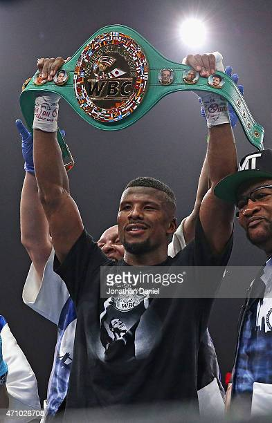 Badou Jack hold the belt after defeated Anthony Dirrell during a super middleweight fight at the UIC Pavilion on April 24 2015 in Chicago Illinois