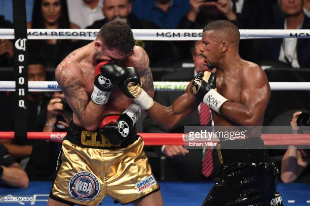 Badou Jack lands a punch on Nathan Cleverly during their WBA light heavyweight championship bout on August 26 2017 at TMobile Arena in Las Vegas...
