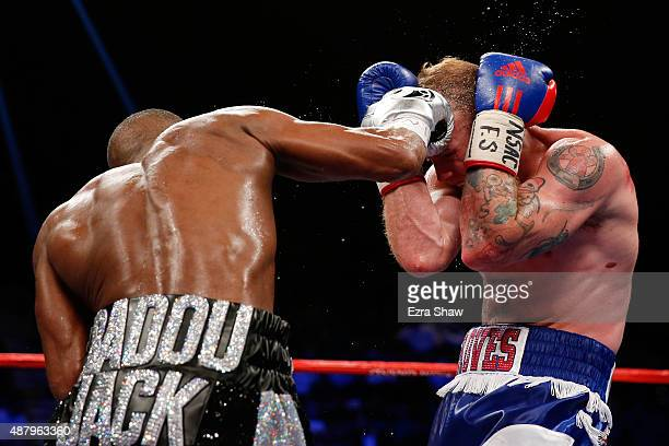 Badou Jack lands a right on George Groves during their WBC super middleweight title fight at MGM Grand Garden Arena on September 12 2015 in Las Vegas...