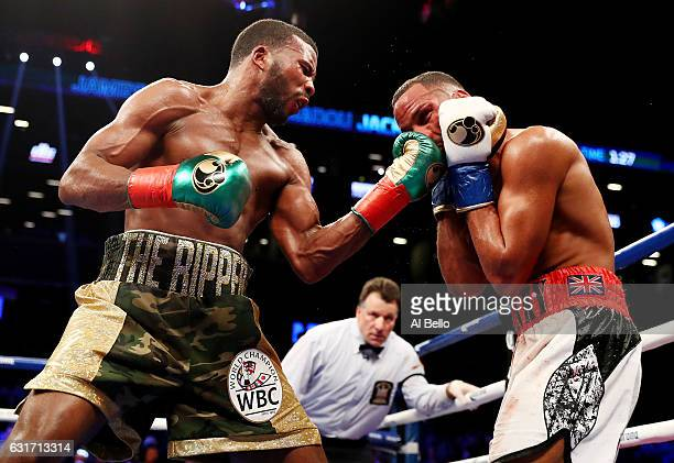 Badou Jack punches James DeGale during their WBC/IBF Super Middleweight Unification bout at the Barclays Center on January 14 2017 in New York City