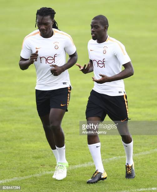 Badou Ndiaye and Gomis of Galatasaray attend a training session in Bad Waltersdor town of Graz Austria on August 04 2017